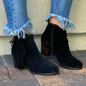 Distressed Black Suede Leather Fringe Ankle Boot